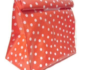 Bag,Lunch,Snack,Oilcloth,Red,White,Polka Dot,Reusable,Vintage,Style,Handmade,USA