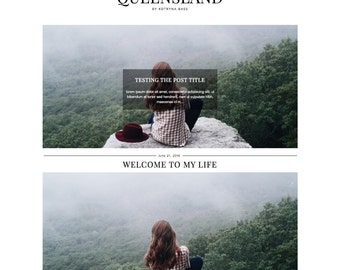 "Responsive Wordpress Theme ""Queensland"" / Fashion Photography Instant Digital Download Premade Blog Template Design"