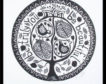 linocut, Be Beautiful, black and white, printmaking, pomegranate, tree, tree of life, round, home interior, birds, fruit, flowers