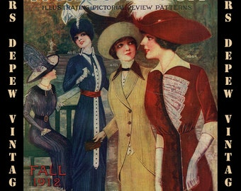 Vintage Large Pattern Catalog Pictorial Review Fashion Book From 1912 -INSTANT DOWNLOAD