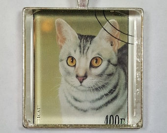 Gray and White Tabby Striped Celadon Green Cat Amber Eyes Genuine Postage Stamp Pendant Key Ring