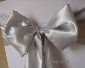 25x Silver Grey Satin Chair Sashes Chair Bows Chair Ties Ribbons for Chair Wedding Engagement Party Reception Ceremony Bouquet Decoration