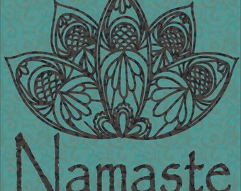 Lotus Mandala with Namaste Instant Download Digital Cut File SVG Silhouette