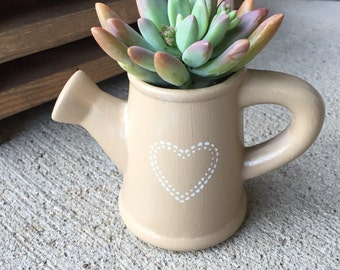 Custom ceramic watering can planter with stenciled design, indoor outdoor planter, succulents and small plant pot, gift idea