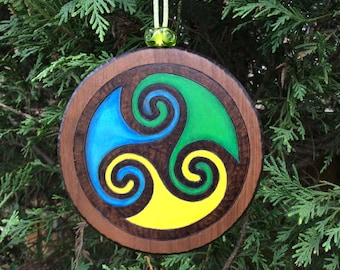 READY TO SHIP! - Gift Topper, Christmas Ornament, Rustic Accent Decoration, Handcrafted Wooden Ornament w/ Woodburned & Watercolor Motif