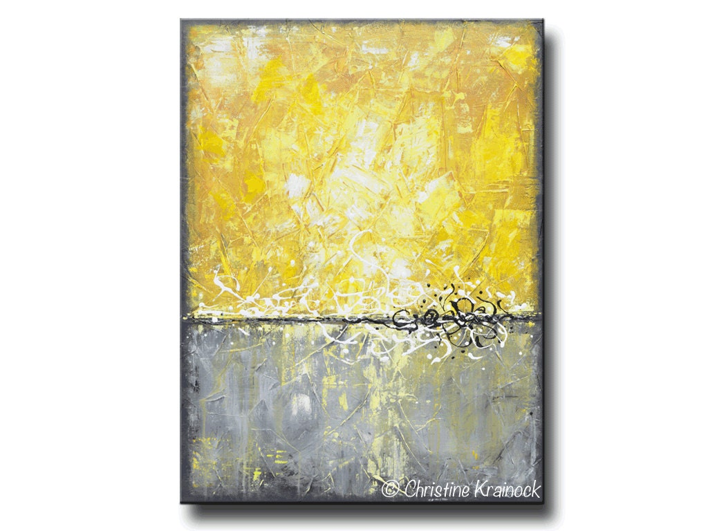 GICLEE PRINT of Yellow Grey Abstract Painting Minimalist LARGE