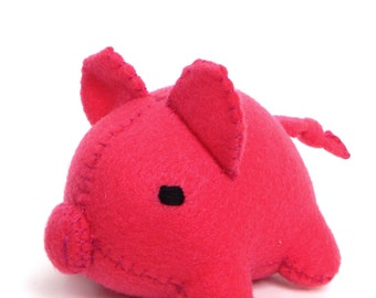 Handsewn Felt Pig Stuffed Animal
