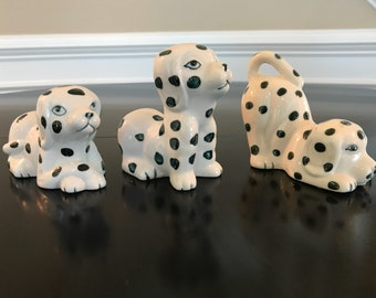Dalmatian Adorable Trio Figurines Black and White Spotted Dogs