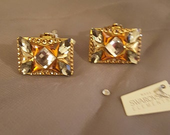 Swarovski Glamour earrings by Jimmy Crystal  -  Exotic gold facet clip