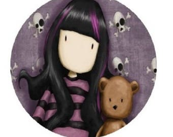 """cabochon """"girl and bear"""" gorj, 25mm"""