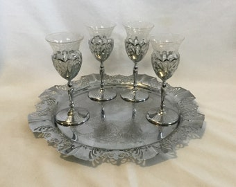 Vintage Farber Bros Krone Kraft Chantilly Glass Four Cordial Glasses And Tray Set