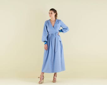 Lilody Maxi Wrap dress in Cotton Chambray