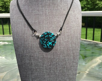 Polymer Pendant Black and Turquoise