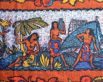 Vintage Fabric - Tiki Hawaiian Fishing Men and Women - Barkcloth Remnant Lot
