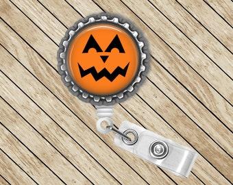 Pumpkin, Jacko-lantern, ID Badge Reel, Retractable, Badge Holder, Badge Reel, Badge Clip, Nurse Gift, Cute Badge Reel