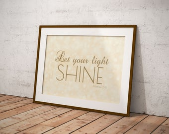 Matthew 5:16 Let your light SHINE - Bible quote verse - Bible decor - Gold printable with bokeh effects-Printable Wall Art-Instant download-