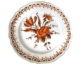 Old plate of Angoulême (France - Vintage) - pattern flowers - hand painted
