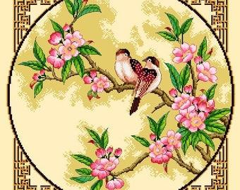 Orientals Flowers and Birds 1 -Cross Stitch PDF Pattern