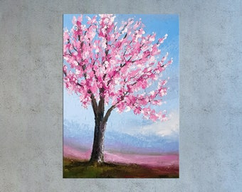 Cherry blossom painting, Palette knife art, Tree painting, Floral art, Oil painting, Abstract art, Impasto art, Textured art, Modern art