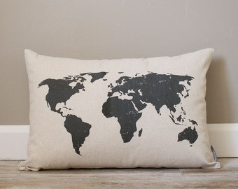 World Map Pillow | Rustic Pillow | Personalized Gift | Monogrammed Gift | Rustic Home Decor | Home Decor | Housewarming Gift