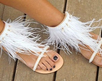 "RiRiPoM, Feather Sandals, Greek, Luxurious Sandals, Bridal Sandals, Ostrich Feathers,Pearl Sandals, Pom Pom Sandals,Wedding, ""Swan"""
