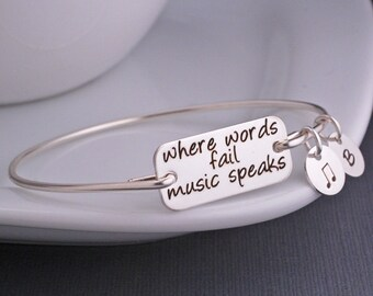 Music Jewelry, Where Words Fail Music Speaks Bangle Bracelet, Music Lover Gift, Music Note