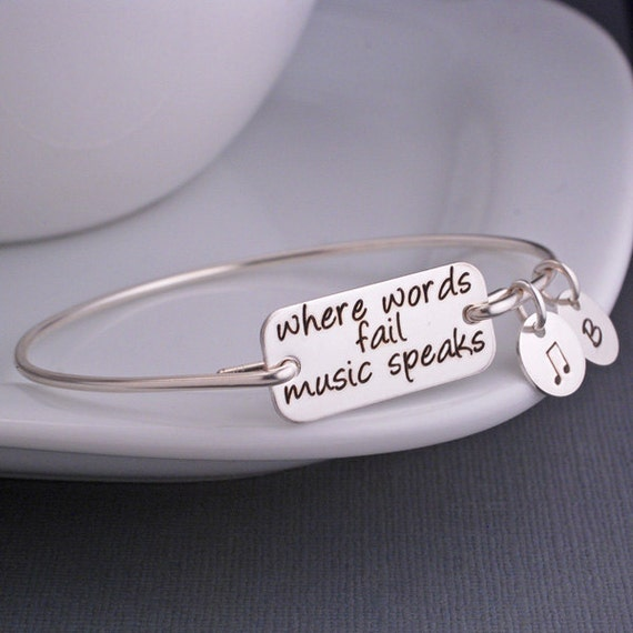 Music Jewelry Where Words Fail Music Speaks Bangle Bracelet