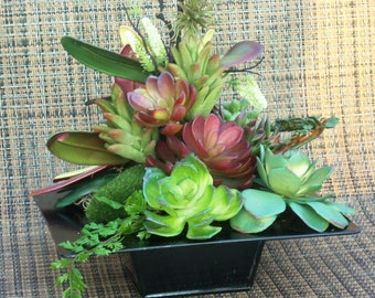 Contemporary Planter and Artificial Succulents, Faux Succulent Table Garden, Succulent Planter, Succulents in Square Planter