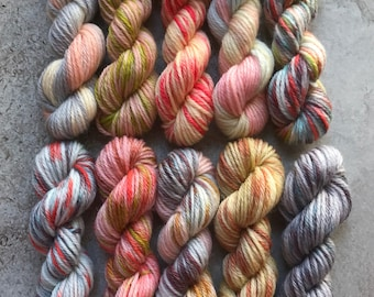 Hand Dyed Sock Yarn Mini Skein Set #164 -- 10 Mini Skeins/25 Yards Each