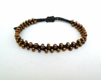 Beaded braid bracelet, Summer bracelet, Seed bead bracelet, Dainty bracelet, Ethnic bracelet, Hippie, Black macrame, Bronze beads, Wax cord