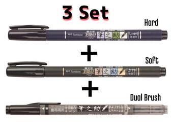 3 Set Tombow Fudenosuke ( Hard /Soft/ Double ) Calligraphy Brush Pen Japan