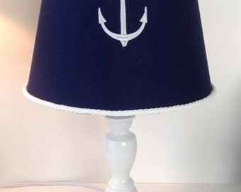 Awesome Nautical Anchor Lamp Shade Navy Blue With White Rope Trim (other Colors  Available For Anchor