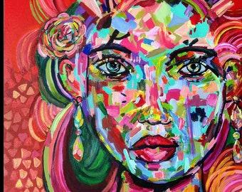 Dee Dee, Original, Art, Painting, Surreal, Pop Art, Woman, Portrait, Colorful 24x24 Color Blast
