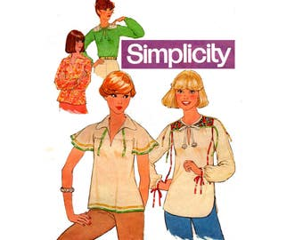 Simplicity 8079 Womens Hippie Caftan Tops Boho Festival Style Summer Blouses 70s Vintage Sewing Pattern Size 12 Bust 34 inches