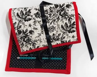 Quilted Pencil Case - floral/polka dot