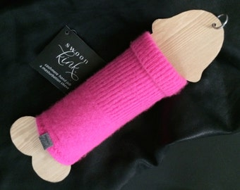 Mature: Masturbation Sleeve-Reusable! 100% Cashmere Turtleneck-Neon Pink