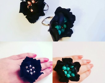 black leather flower ring - leather flower jewellery - 3rd leather anniversary gift - woman statement leather ring - Xmas gift for her