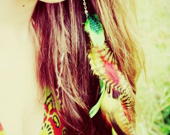 Extra Long Chain Feather Earring or Hair Clip, Rasta colors, 14 inches long, feather symbolism, long feather extensions