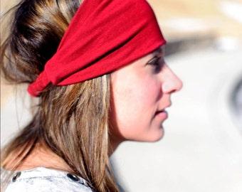 Hair Headband, Red Headband, Knit Bandana, Stretch Bandana, Scarlett Head Scarf Head Wrap (#1011) S M L X