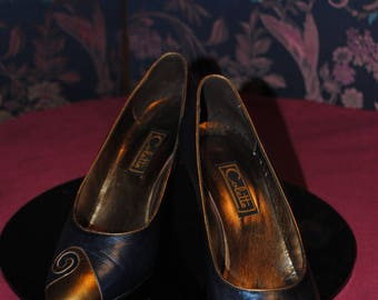 "Shoes leather blue and old gold ""Colette"" Paris"