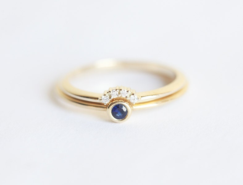 Tiny Sapphire Engagement Ring with Prong Diamond Crown Ring