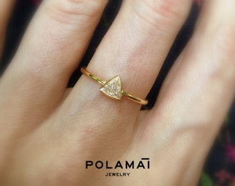 Diamond Trillion Ring 18k 14k Gold. Diamond Triangle Ring. G VS Solitaire Ring . Engagement Ring . Solid Yellow White Gold . Polamai