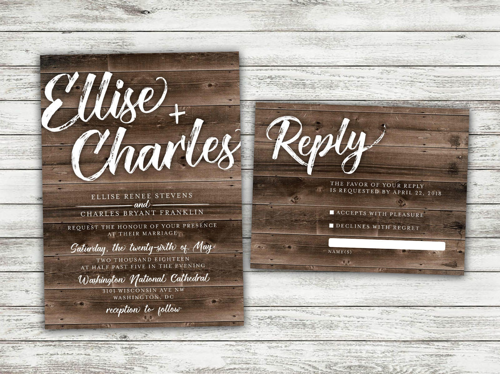 Rustic Country Wedding Invitations Set Printed   Cheap, Burlap, Kraft,  Wood, Affordable, Woodsy, Lights, Outside, Elegant, Summer, Southern