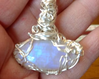 Moonstone silver wire wrapped with silver chain pendant necklace