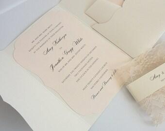 Wedding Invitation, Blush Wedding Invite, Lace Wedding Invite, Elegant Wedding Invitation, Scallop Pocket Wedding Invite, SCALLOPS POCKET
