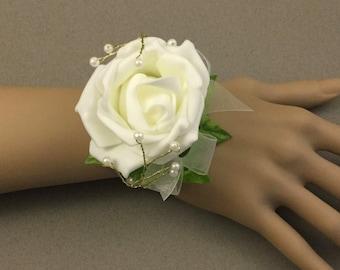 Ivory Wrist Corsage,  Wedding Bracelet, Ivory Rose, Ivory Bracelet, Bride's Wrist Corsage, Prom Corsage, Bridesmaid Corsage, FlowerGirl