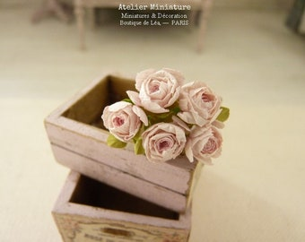 Miniature Soft Pink Roses, Paper Flowers, 100% Made in France, Romantic Garden, French dollhouse, 1 12 Scale