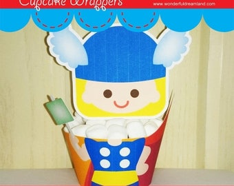 50% OFF Printable Digital PDF File - Cupcake Wrappers Superhero Baby Boy T