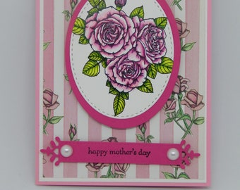 """Mother's Day Card.  Pink Roses with a """"Cameo"""" Rose Centerpiece.  Dimensional Mother's Day Card."""