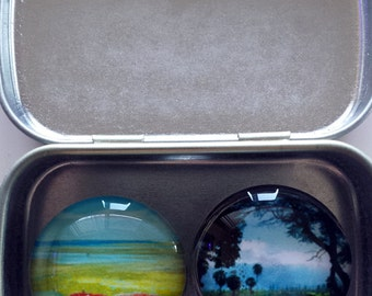 Handmade Glass Marble Mini Magnet Set - original photographs of California and Hawaii